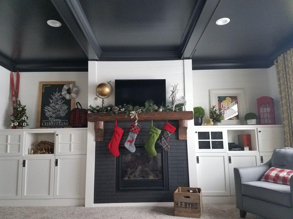 Fireplace Built Ins Black Coffered Ceiling Barnwood Mantle Shiplap Trickytroyerhouse