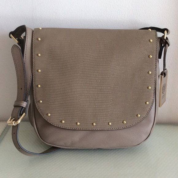 "HOST PICKNWTVINCE CAMUTO Izzie Cross Body Taupe leather .... Snakeskin embossed leather flap with gold tone studs and magnetic closure. Full length back slip pocket. 47"" adjustable strap for shoulder or cross body wear. Vince Camuto Bags Crossbody Bags"