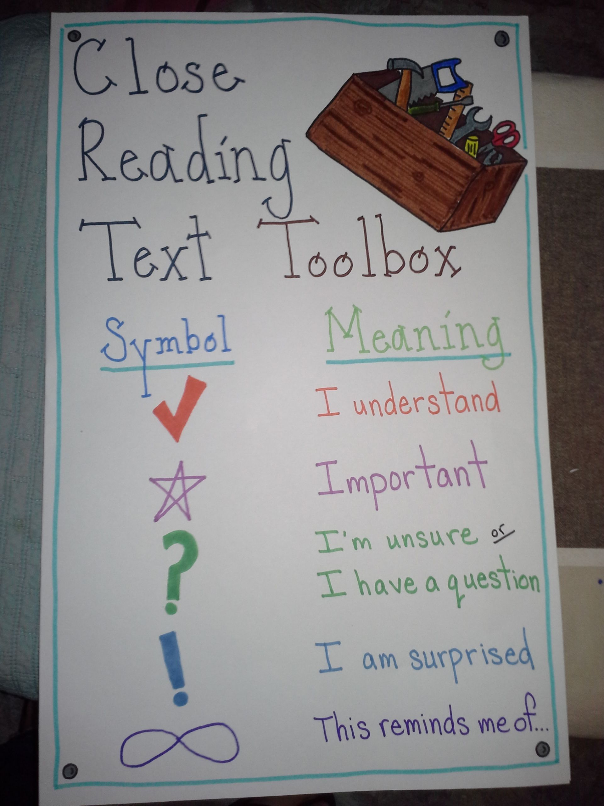 Reference Chart For Annotating Text With Symbols School