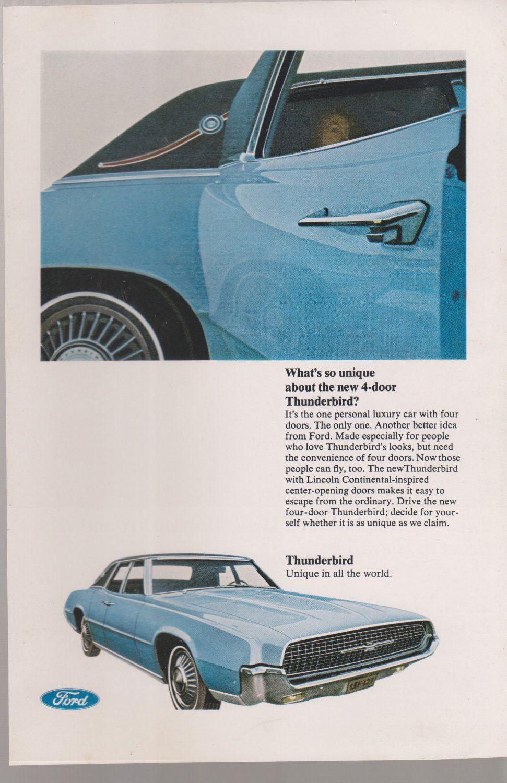 Ford Thunderbird 4 door car automobile magazine ad United Airlines Wally Gordon