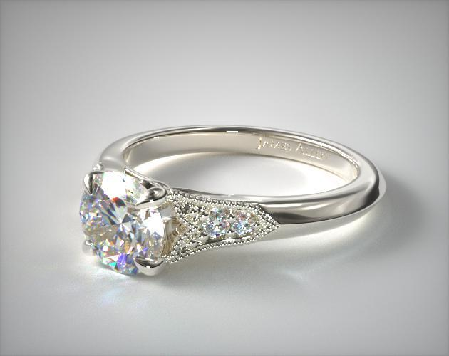 14k White Gold Art Deco Inspired Fleur De Lis Pave Engagement Ring In 2020 Aquamarine Engagement Ring Pave Engagement Ring Art Deco Engagement Ring