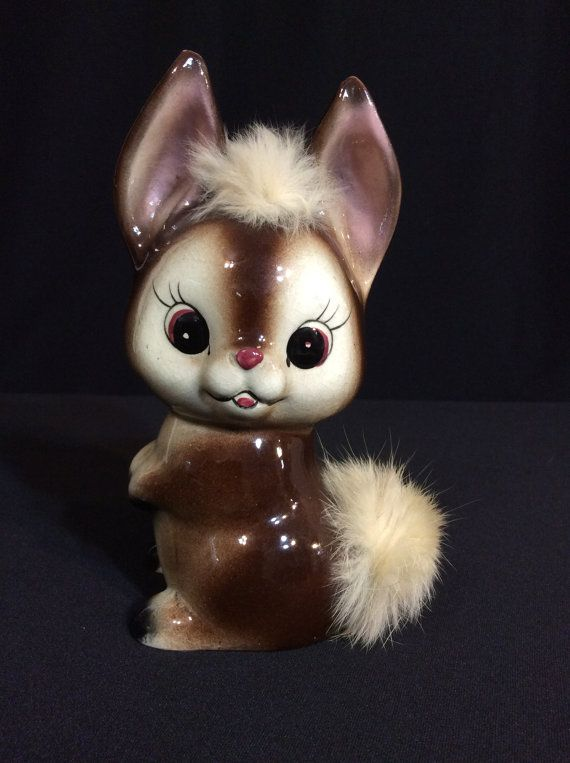 Adorable Ceramic Bunny Bank With Two Tufts by BarbsBaublesBoutique