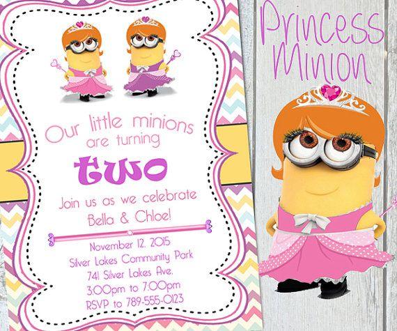 TWINS Minion Birthday Invitation Minion Party Princess Minion