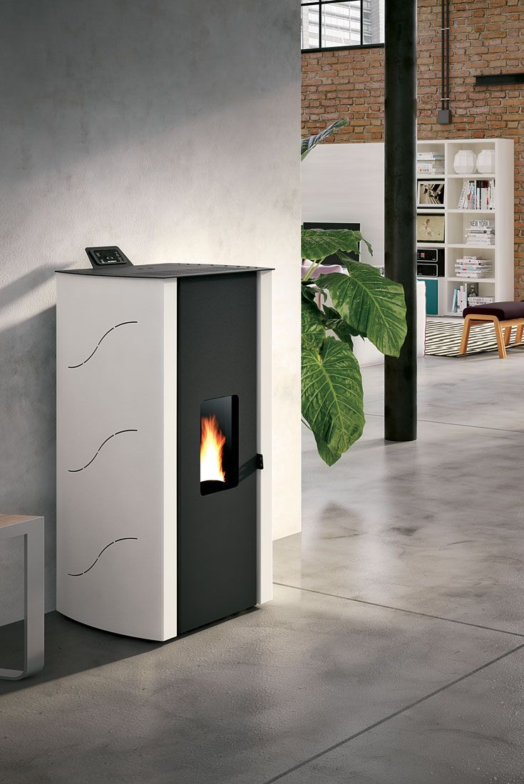 ECOFIRE® MALU\' | Pellet stove clad in painted steel. Available in ...