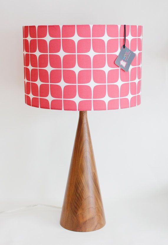 "Patterned Lampshades Lamp Shade  14"" Drum  Raspberry Geometric  Organic Cotton Sateen"