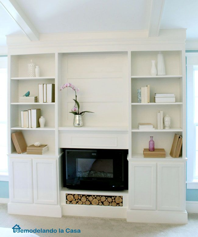 Bookcases · DIY - Build ins with electric fireplace