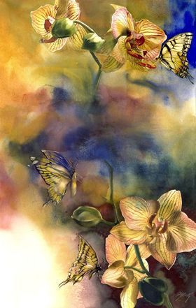 Butterflies with orchid by Alfred Ng