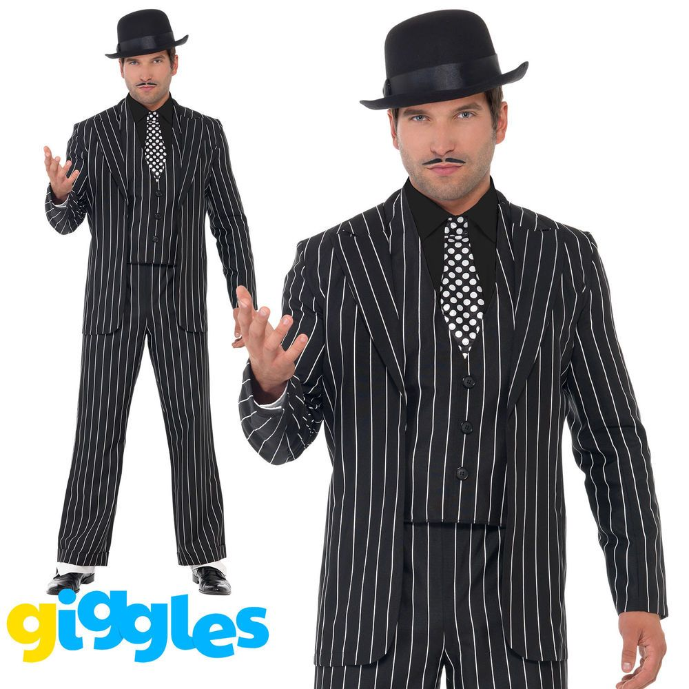3b15e8d401a Vintage Gangster Costume Pinstripe Mens Zoot Suit 1920s Mafia Fancy Dress  Outfit  HalloweenCostumes  CostumesforMen  CoolCostumes