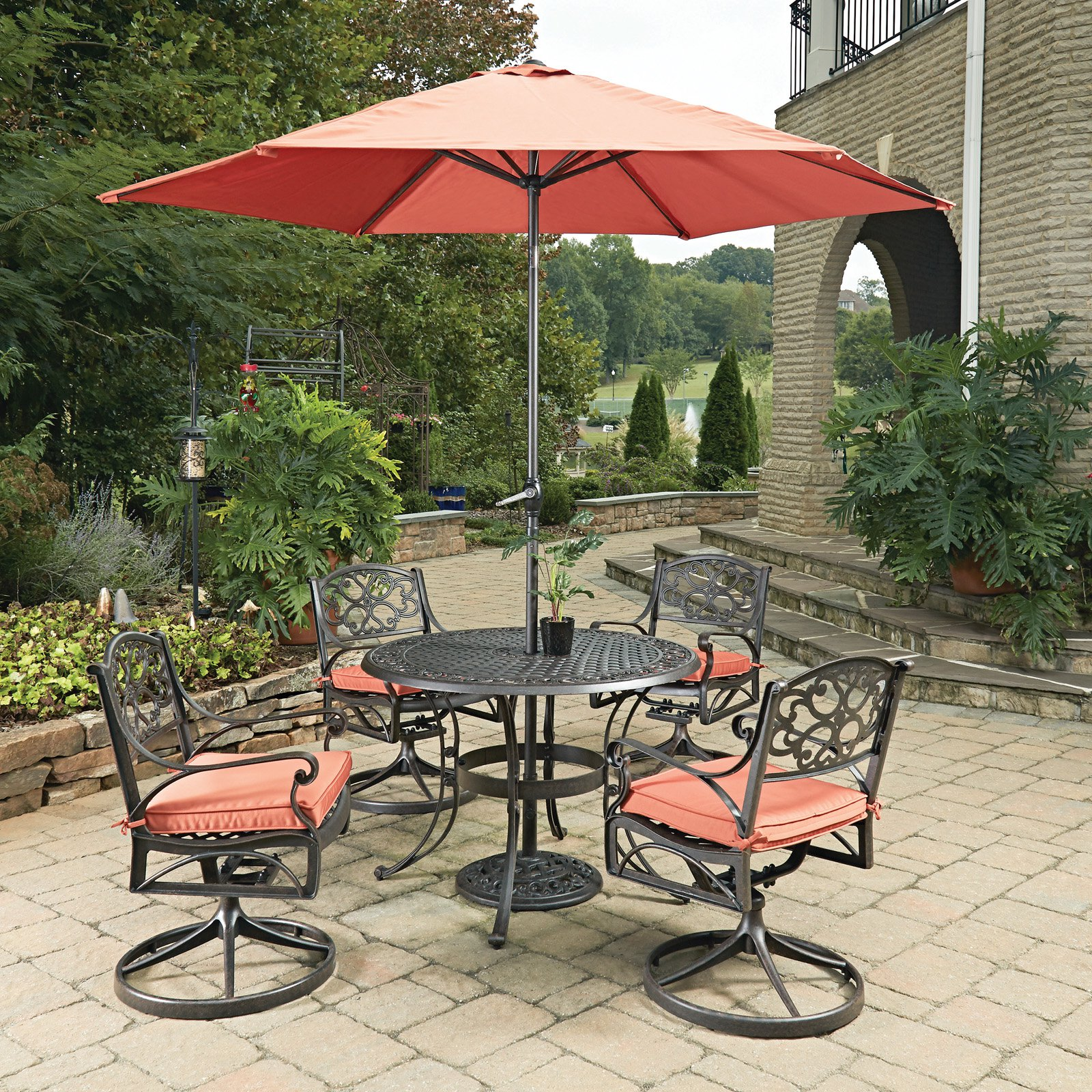 Home Styles Biscayne Round 7 Piece 42 In Outdoor Patio Dining Set