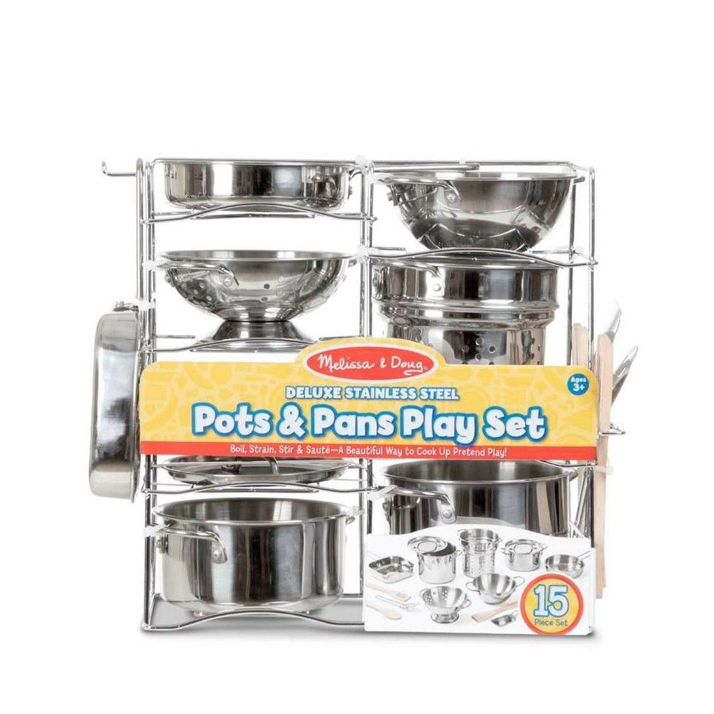 Melissa Doug Deluxe Stainless Steel Pots Pans Play Set Stainless Steel Pot Pots And Pans Sets Play Kitchen