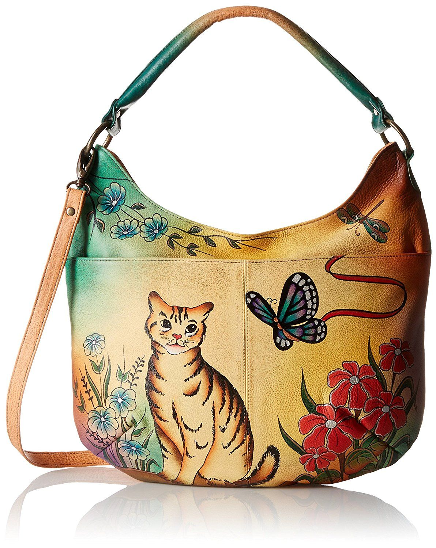 Anuschka Anna Handpainted Leather Convertible Hobo,Cat
