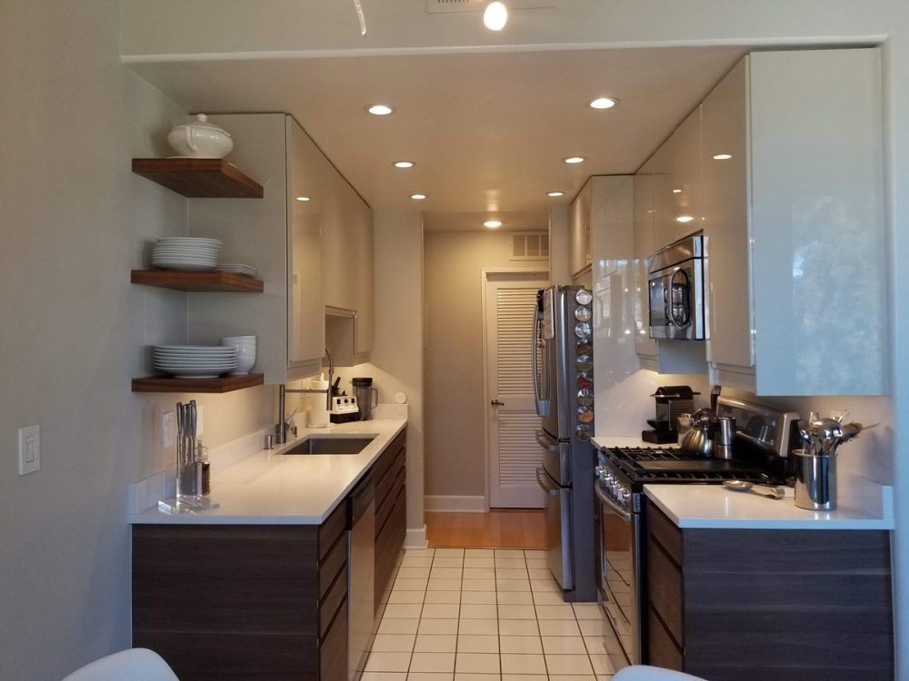 IKEA open galley kitchen - would be better with a counter depth refrigerator #opengalleykitchen