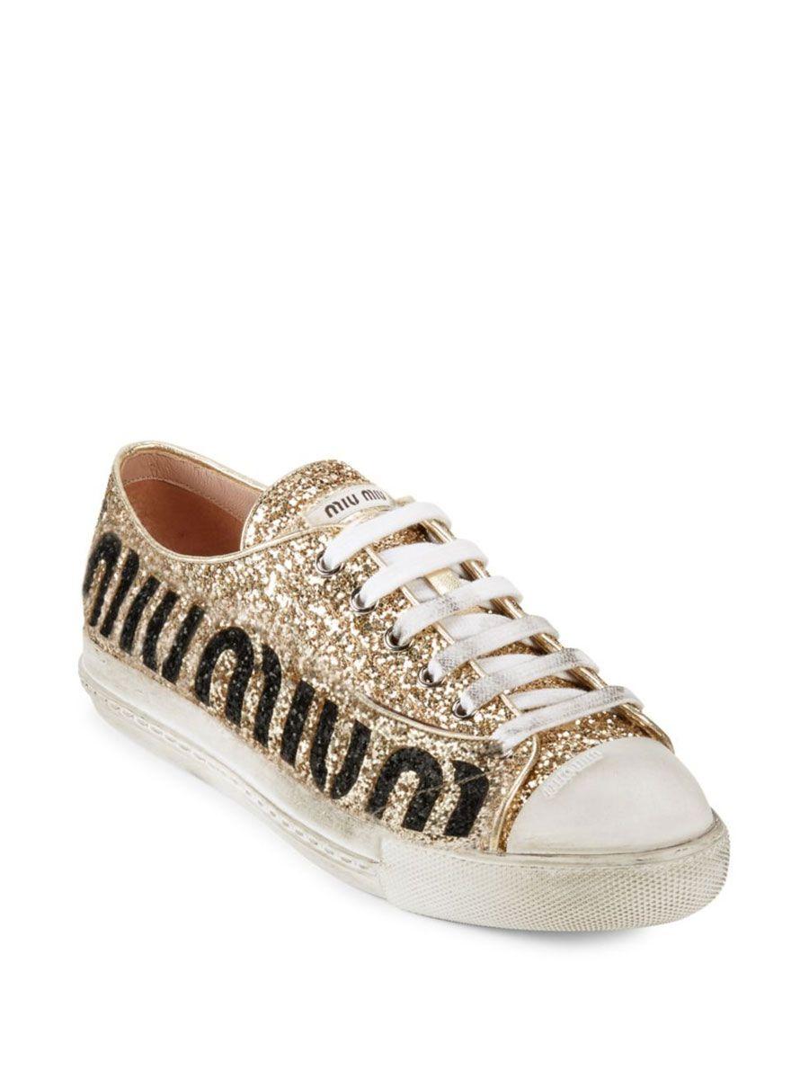 Gold Glitter Miu Miu Sneakers   Miu miu