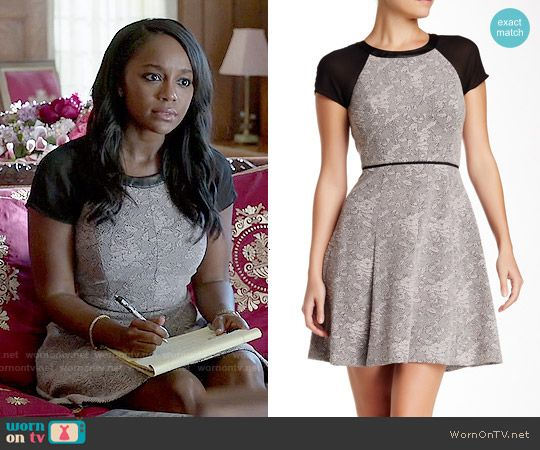 Michaelas grey dress with leather trim on how to get away with michaelas grey dress with leather trim on how to get away with murder outfit details ccuart Images