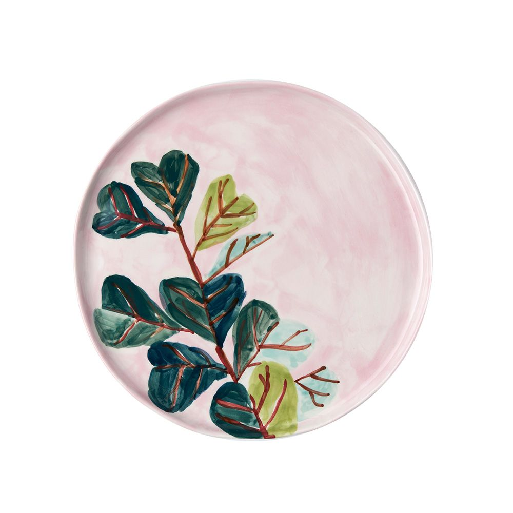 Stoneware platter hand painted with Elizabeth Barnett original artwork.  Handmade in Melbourne, Australia.  Natural tint, clear glaze, underside is unglazed.  Dimensions: 30cm in diameter  Care Instructions: Dishwasher and microwave safe.