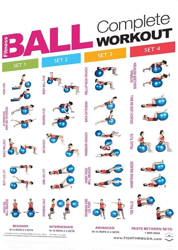FightThrough Fitness 18 x 24 Laminated Workout Poster - Complete Core and Fitness Ball Workouts (FTC...