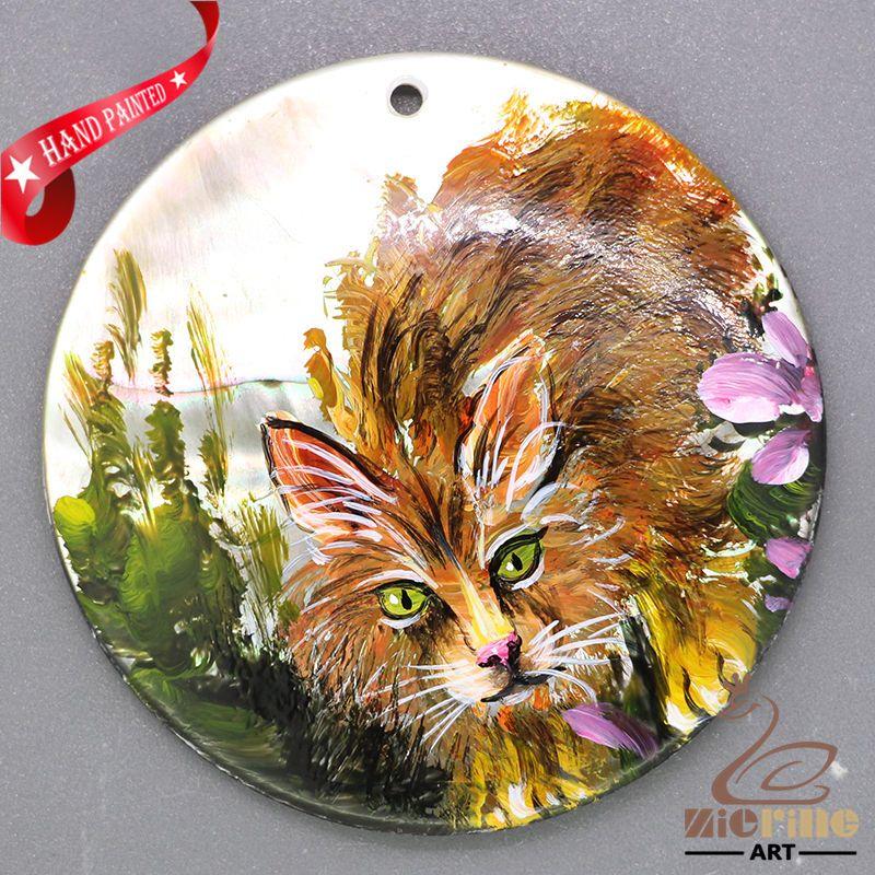Unique Pendant Hand Painted cat Natural Shell necklace ZL303348 #ZL #Pendant