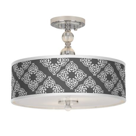 "Aster Grey Giclee 16"" Wide Semi-Flush Ceiling Light"