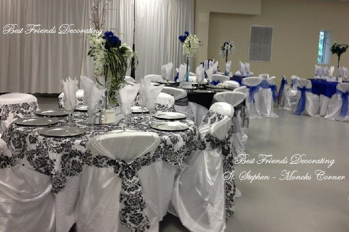 Black And White Damask With Royal Blue Pastor S