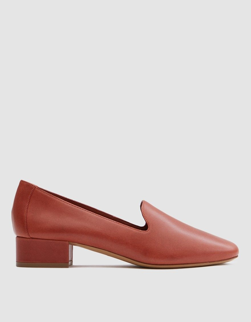 28f76b6761a Venetian Loafer from Mansur Gavriel in Brandy. Vegetable tanned leather  upper. Slips on. Round toe. Tonal stitching. Lined cuff. Lightly padded  footbed with ...
