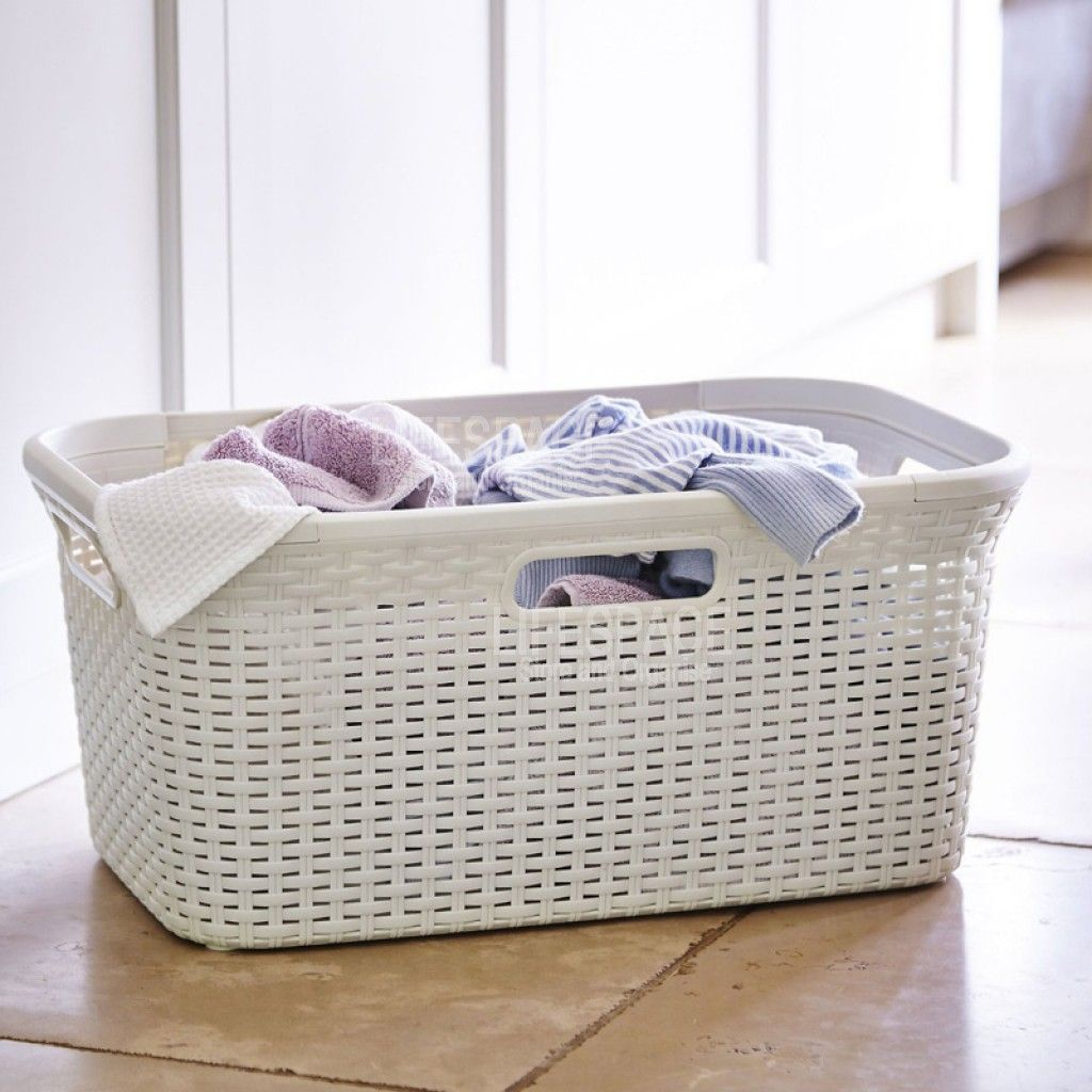 Curver Rattan Washing Basket 45l Vintage White 187492 By Curver