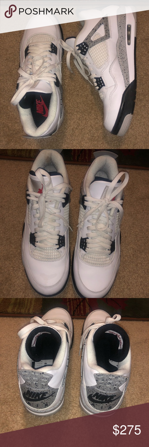 b58ad689 Jordan retro 4 white cement 2016 size 9.5 Slight creasing on the back. Worn  4