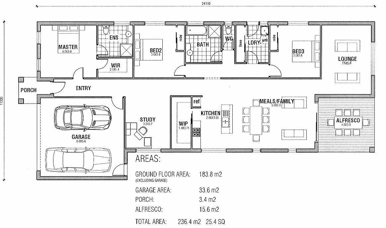 Long narrow layout House plans australia, Australian