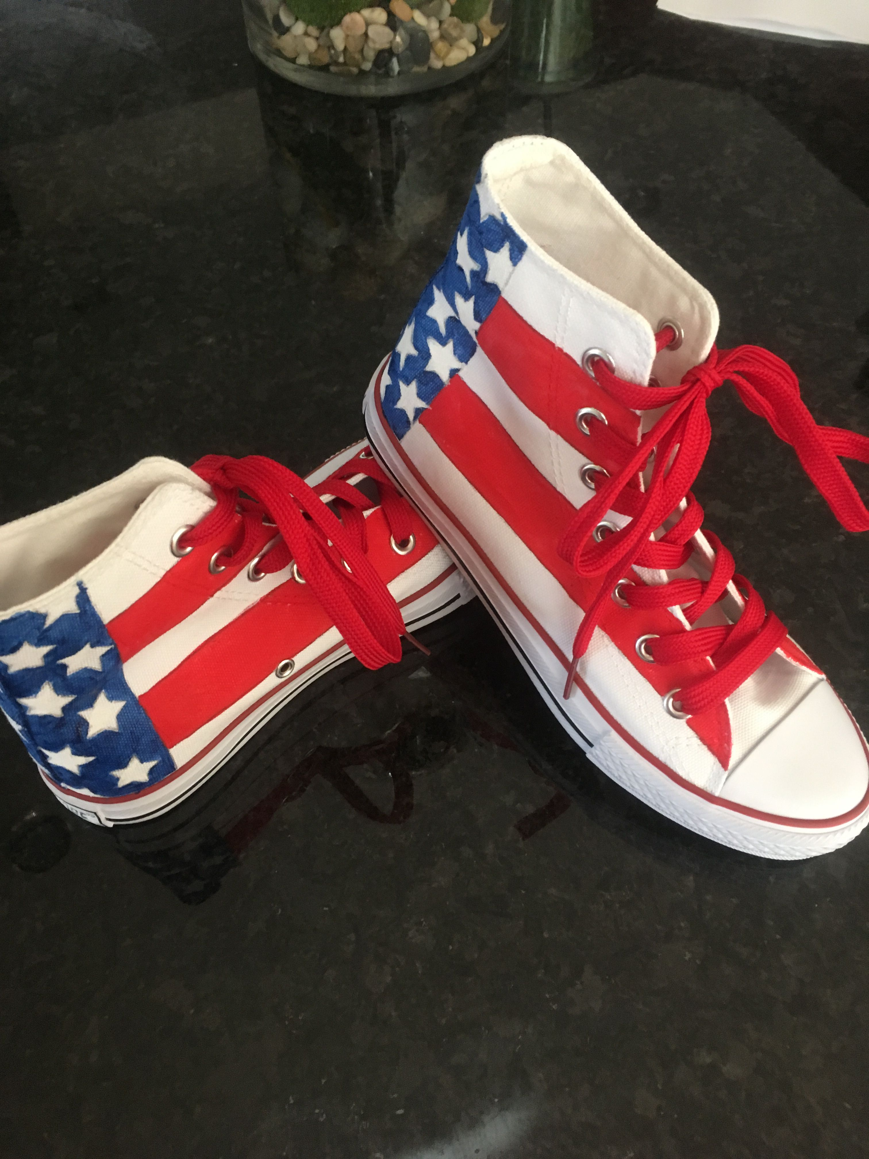 American Flag Painted Tennis Shoes Vans High Top Sneaker American Flag Painting Sneakers