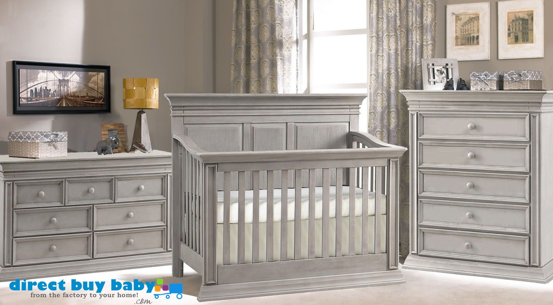 Elegant Distressed Grey Rustic Nursery Set I Direct Baby Chic Venice Convertible Crib