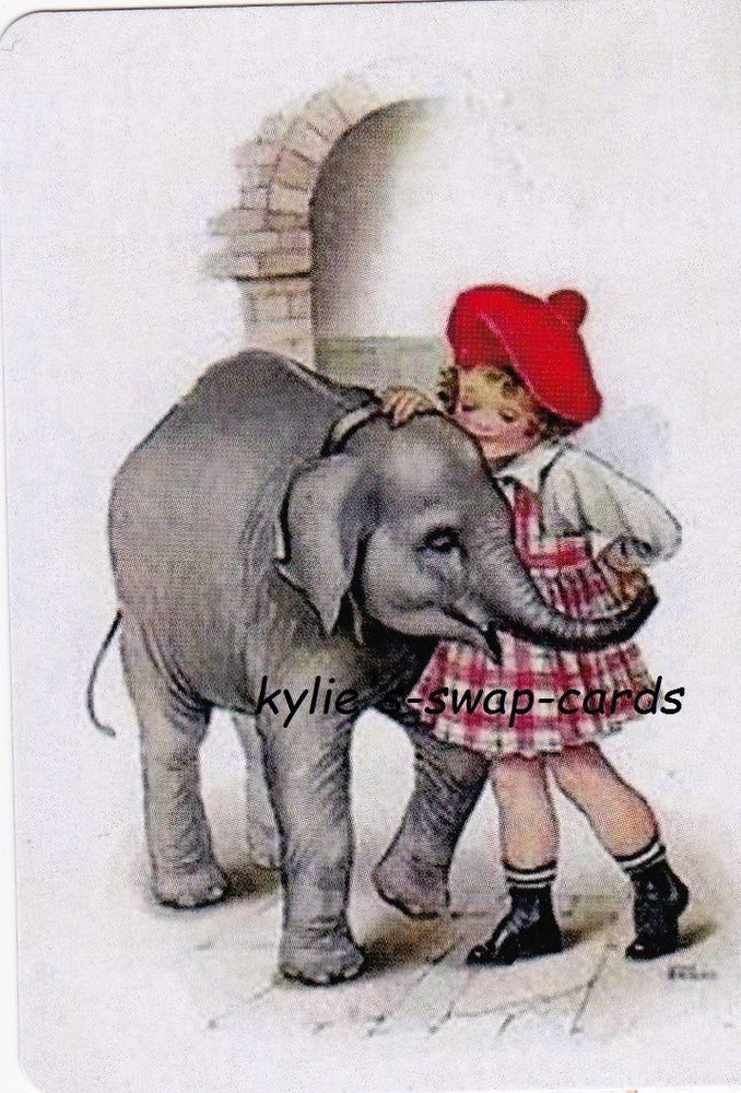 SE43 CUTE swap playing cards MINT CONDITION cute little girl & baby elephant
