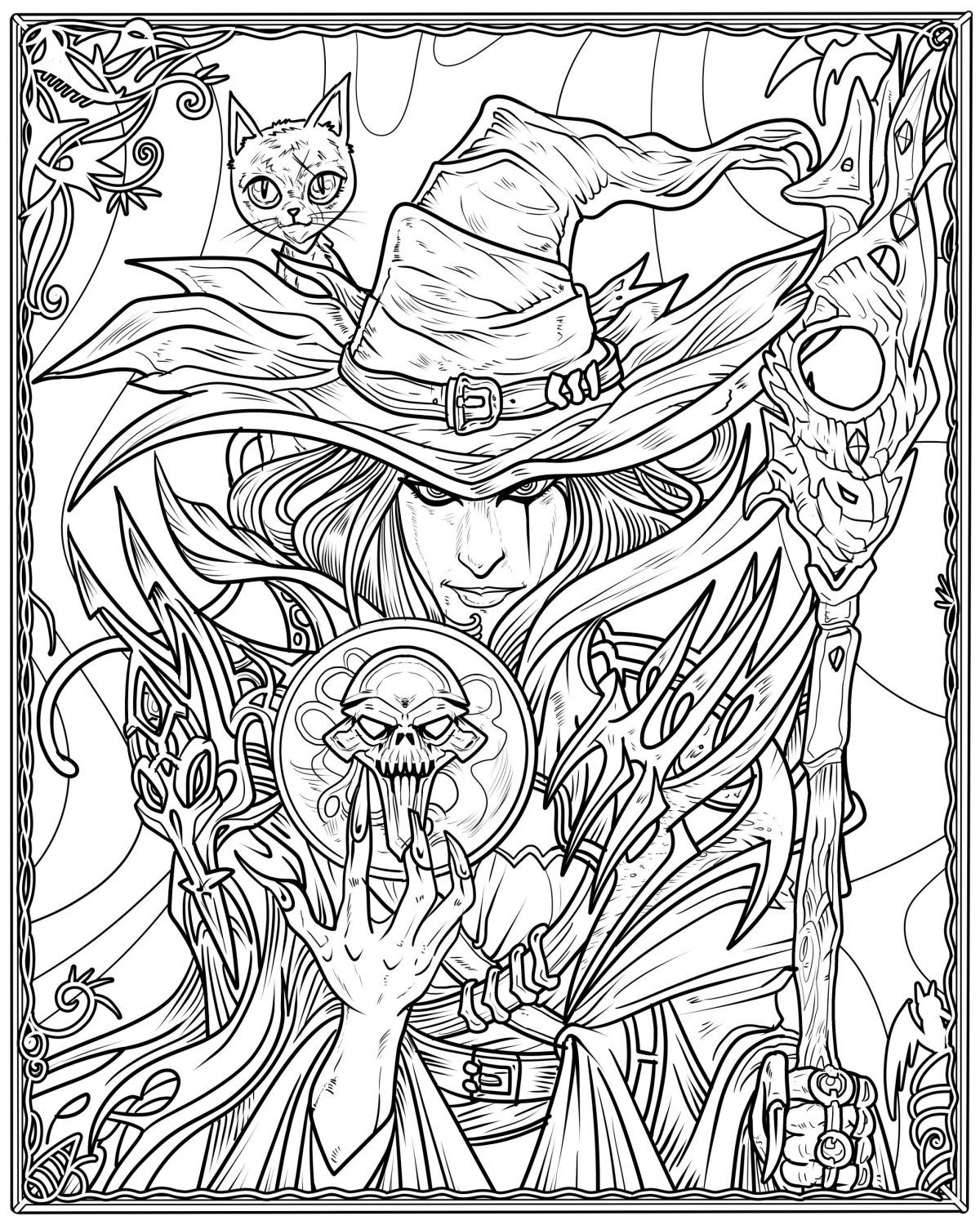 Witch Coloring Page Arts Crafts And Diy Cool Witch Coloring Pages Cool Coloring Pages Halloween Coloring Pages