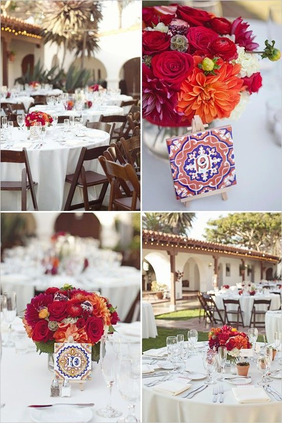 Wedding Centerpiece Floral And Mexican Spanish Tiles Red Orange Mission We Are Want To Mexican Themed Weddings Spanish Style Weddings Spanish Themed Weddings
