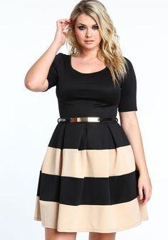 plus size scuba dress with gold belt, black/taupe, large