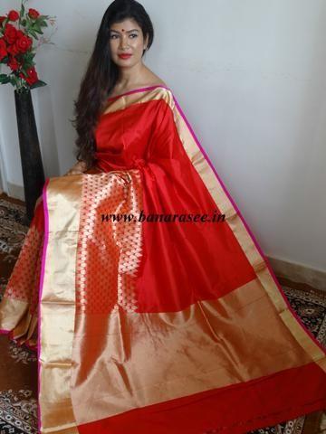 Banarasee Banarasee Handloom Pure Katan Silk Sari With Drop Design Buti Border Red Khadi Saree Red Saree Saree