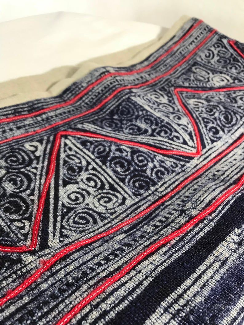 SuddenlySeen Tribal Design Pillowcase 14x38 Indie Woven Long Body Pillow Cover Navy Blue