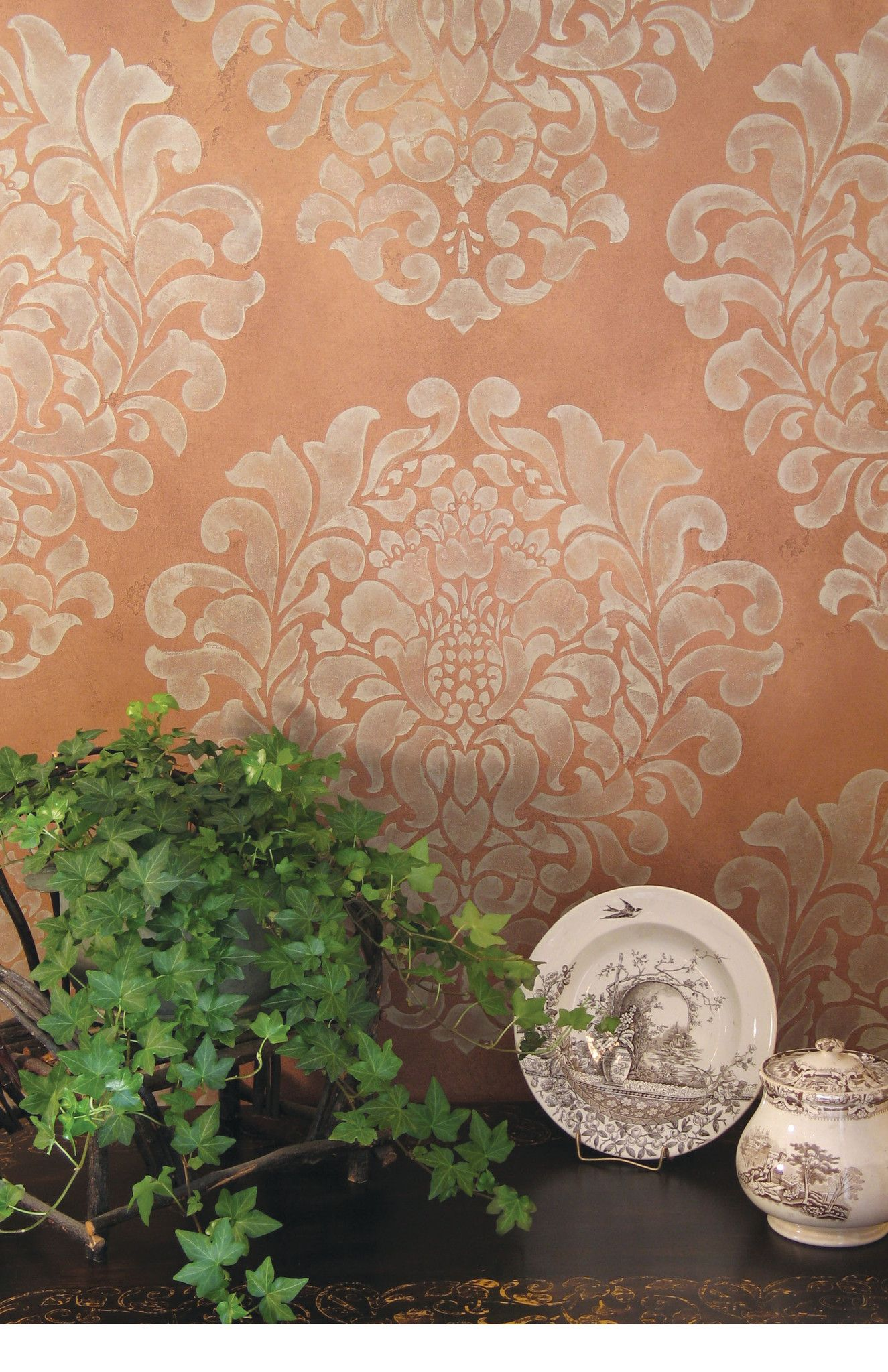 Large trellis wall stencil acanthus damask wall stencil for diy grand damask wall stencil amipublicfo Images