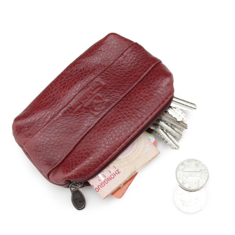 4f5dbff5a5b5 Simple Unisex Wallets Money Holder Case Leather Double Zippers Change Purse  Women Leather Small Coin Purse
