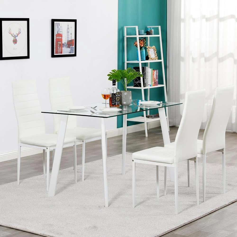 Ktaxon Glass Metal 5 Piece Dining Table Set 4 Chairs Kitchen Room Breakfast Furniture In 2020 Side Chairs Dining Glass Dining Table Set Dining Table