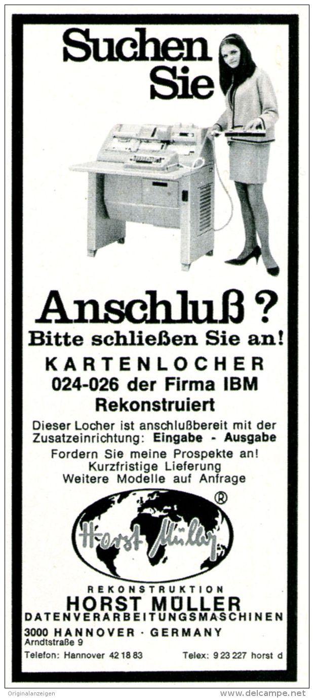 Original-Werbung/ Anzeige 1969 - IBM KARTENLOCHER / MÜLLER - HANNOVER  - ca. 55 x 115 mm