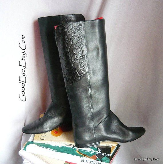 cab7aff68eac Black Leather STOVEPIPE Knee Boots / size 6 .5 B Eu 37 UK 4 / Gloria  VANDERBILT 1980s Slouch Flat