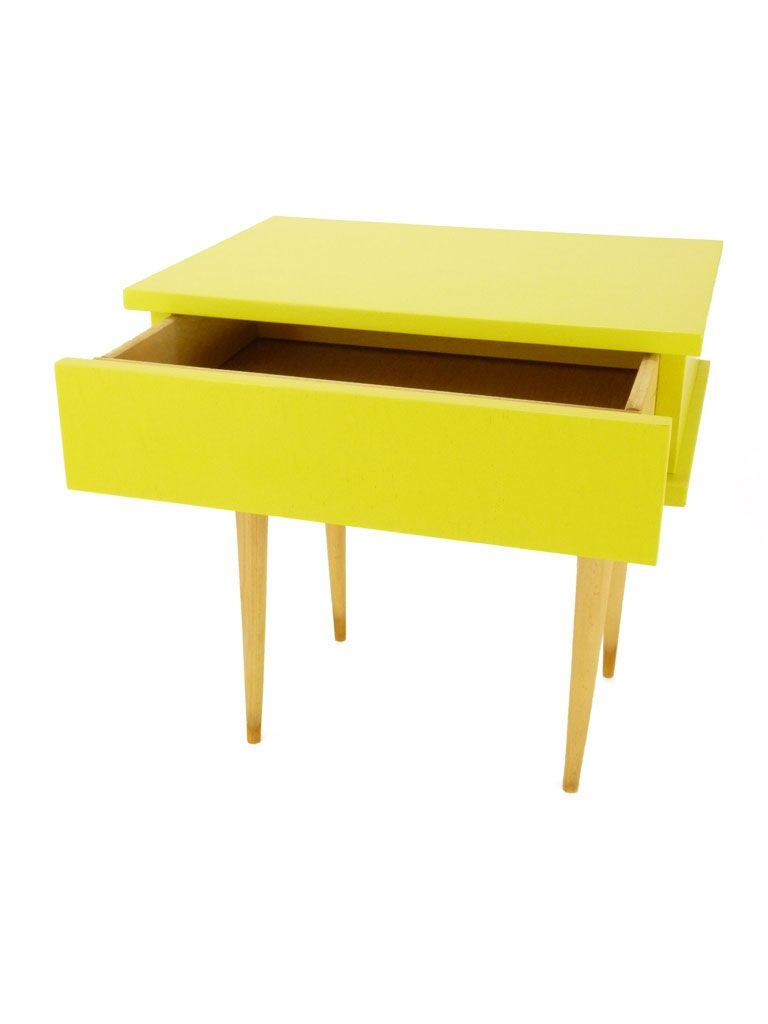 table de chevet années 50 jaune | home interior-design-decor