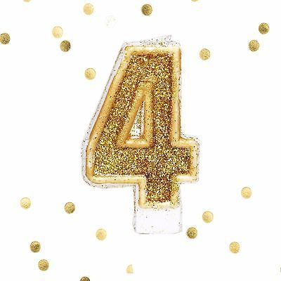 Gold Glitter Birthday Candle Number 4 White Anniversary Cake Topper Four