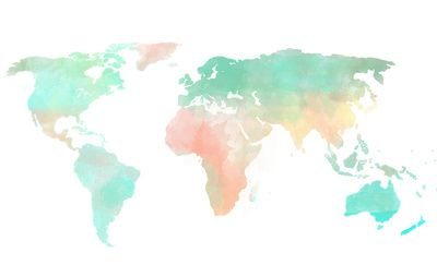 5b5ef39110a0 Watercolor World Map Art Print | Things I want | Water color world ...