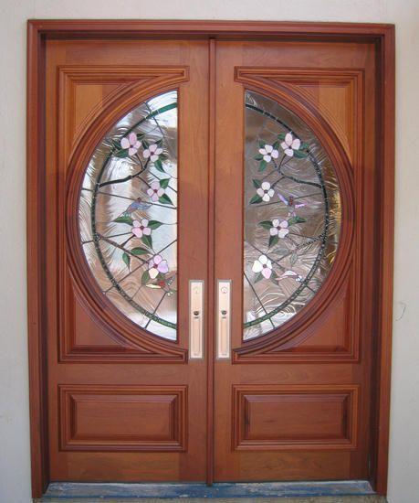 Custom Estate Leaded Hummingbird Entry Solid Wood Doors By