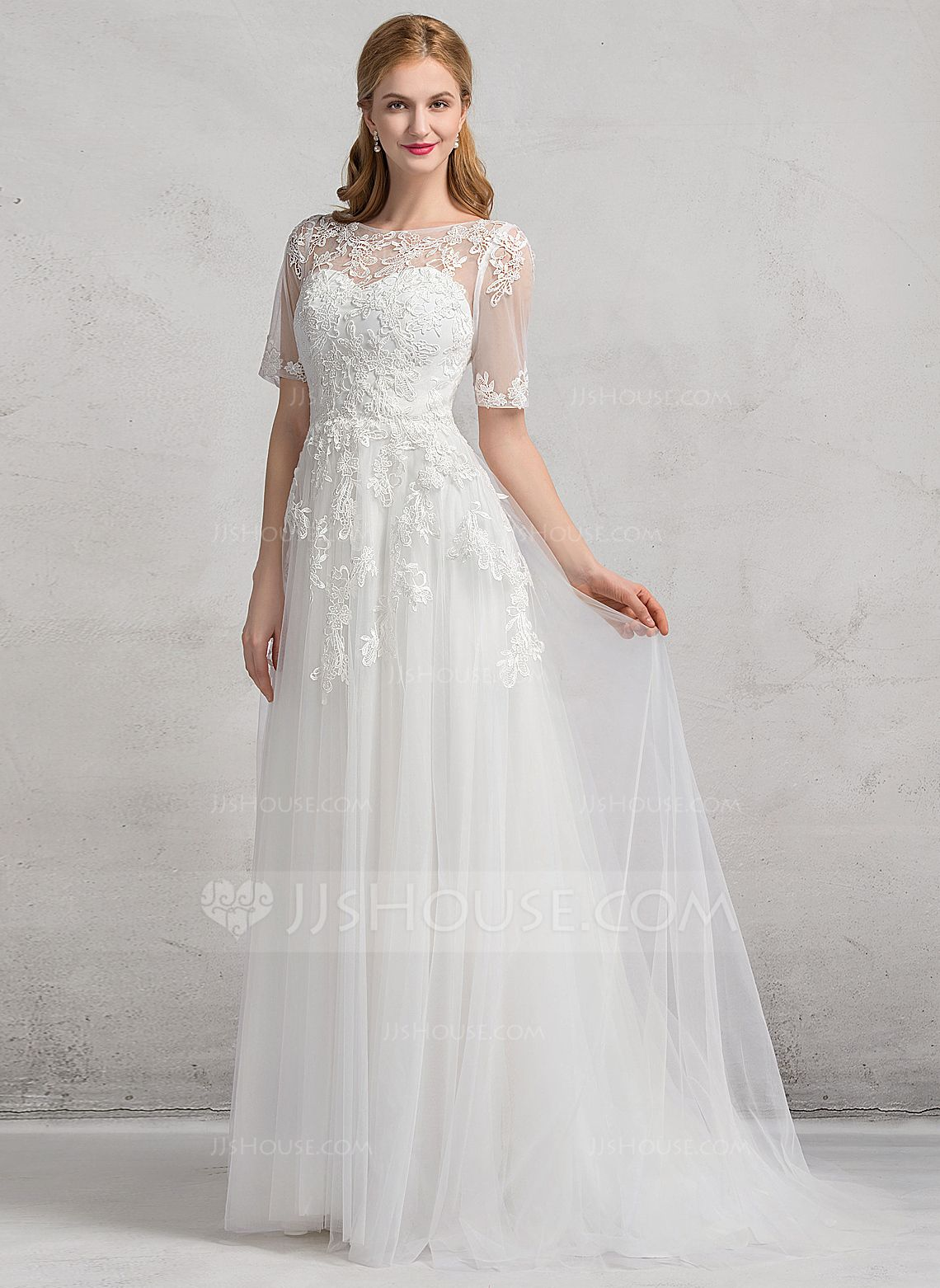 c5b83cd2b001 A-Line/Princess Scoop Neck Court Train Appliques Lace Zipper Up Sleeves 1/2  Sleeves Church General Plus No Winter Spring Fall Ivory Tulle Wedding Dress