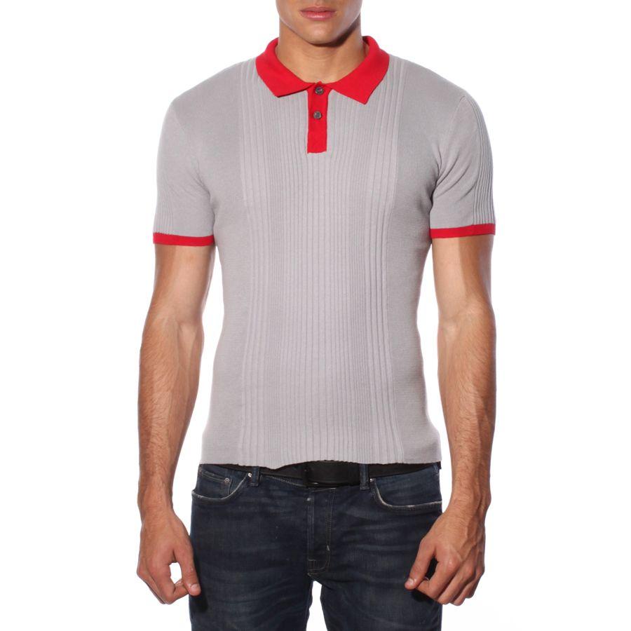 Rib Knit Polo - Grey/Red - $78
