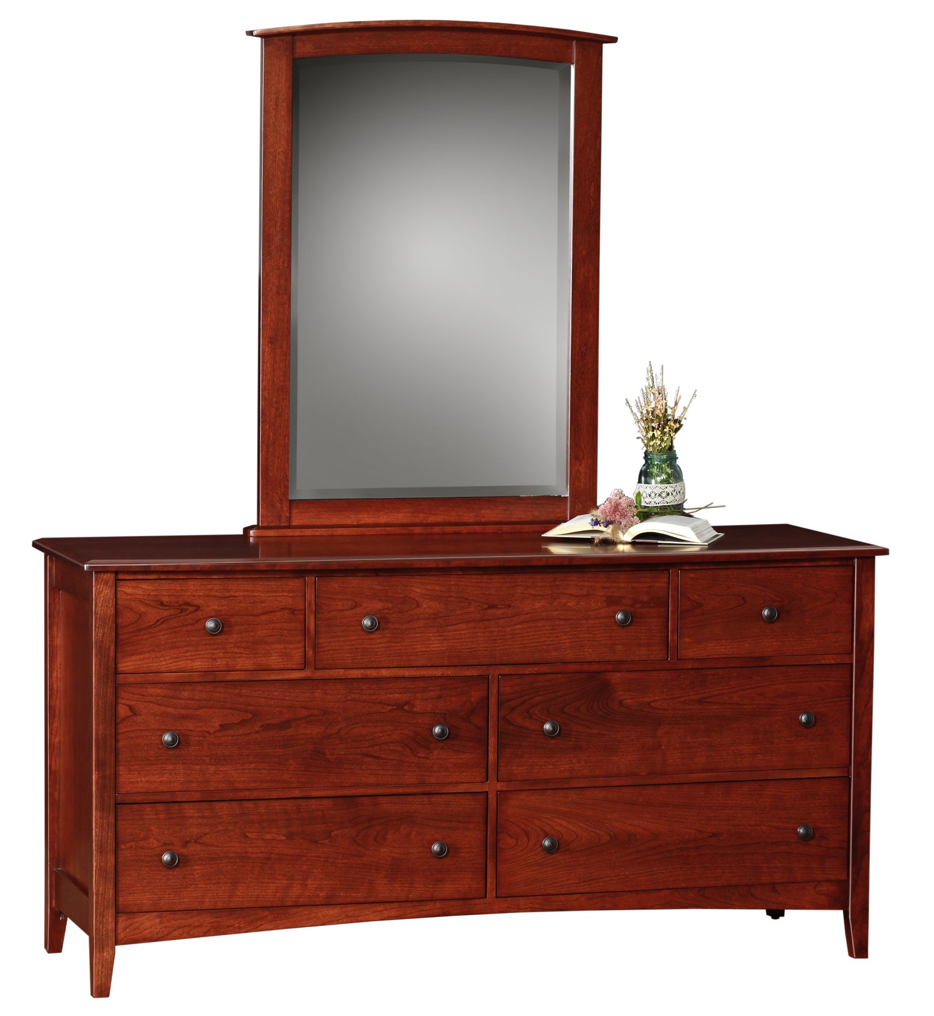 Interesting Double Dresser Mirror With 7 Drawers