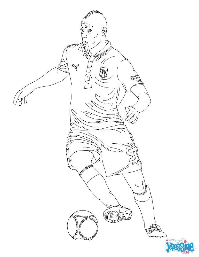 Coloriage du joueur de foot Mario Baloteli € imprimer gratuitement ou colorier en ligne sur