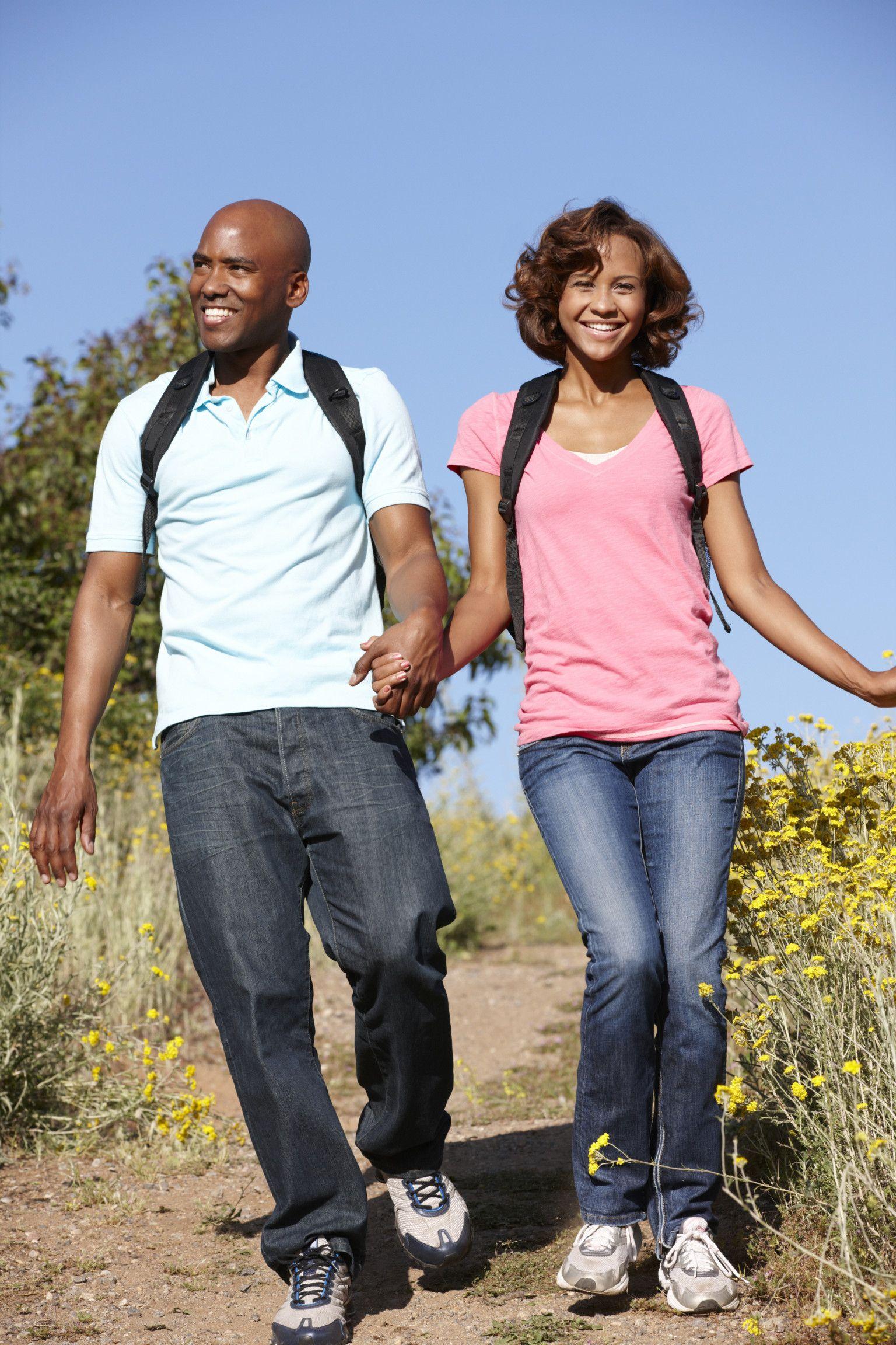 Couple walking in veld Outdoor activities