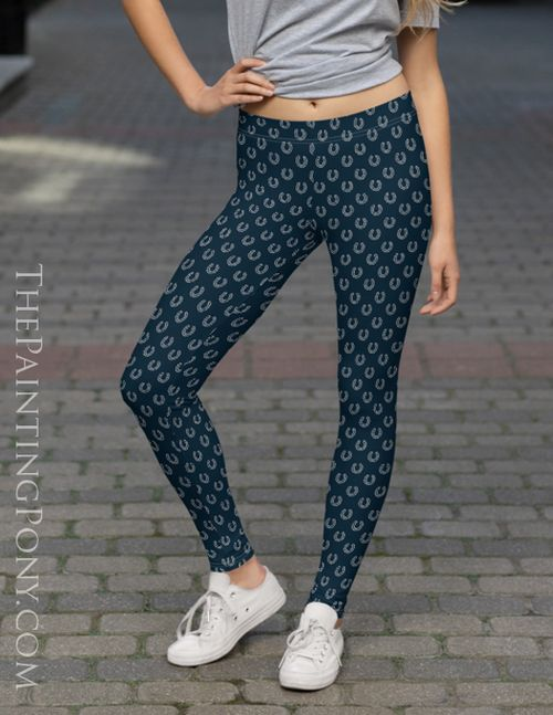 Navy and Gray Horse Shoes Pattern Equestrian Leggings #horsepattern